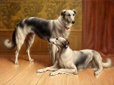 Wonderful huge oil painting two dogs in sitting room nice animals Hand painted