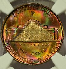 "1942-P Silver Jefferson Nickel NGC MS65* MONSTER RAINBOW COLOR ""The Pyramid"""