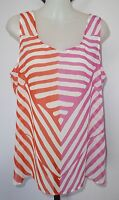 ANN TAYLOR LOFT Size M Red and Hot Pink/White Striped Chiffon Top