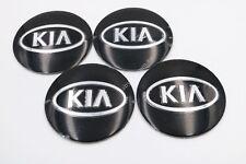 4x Black KIA Wheels Centre Hub Caps Badge 3M Direct Stick On 56mm Aluminium