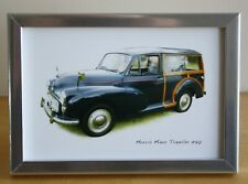 Morris Minor Traveller 1970 (Black) -  4x6in Framed Photograph - Gift for Fan