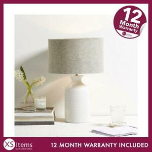The White Company Small Bottle Ceramic Table Lamp White Grey Shade Lighting;';