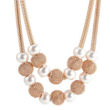 Fashion Women Pearl Pendant Chain Choker Chunky Statement Bib Necklace Jewelry