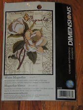 """2008 DIMENSIONS WHITE MAGNOLIAS CREWEL EMBROIDERY KIT # 6236 5"""" X 7"""""""