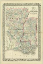 "1871 S.A. Mitchell ""County Map of  States of Arkansas, Mississippi, Louisiana"""