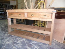Narrow Solid Pine Rustic Handmade Freestanding Kitchen Unit Butchers Block Style