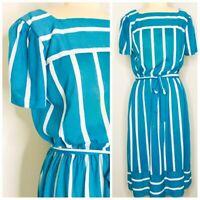 Vintage Secretary 80s Sack Dress Size L Large Blue Striped Square Neck Belted