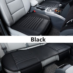 3x Universal Car Front Rear Seat Covers PU Leather Seat Cover Pad Mat Cushion