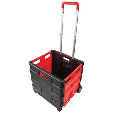 FOLDING BOOT CART SHOPPING TROLLEY  STORAGE Plastic  BOX WHEELS CRATE FOLDABLE