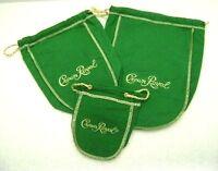 Crown Royal Bags Green 50ml, 375ml, 750ml Lot of 3 Cotton Felt Drawstring NOS