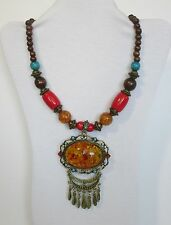 Faux Amber Large Oval Pendant w Big Wood & Plastic Beads Necklace. Nwt