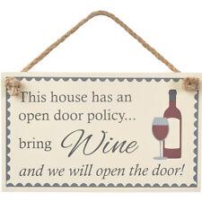 New Bring Wine Open Door Policy Rustic Fun Wooden Door Home Hanging Sign