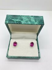 Suzanne Somers Sterling Silver 925 Oval Cut Pink/ Red CZ Earrings