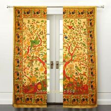 HANDMADE COTTON CURTAIN DOOR TREE OF LIFE ROOM DIVIDER NATURAL WINDOW CURTAINS