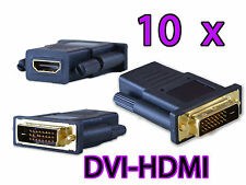 10x DVI Male to HDMI Female Gold Plated Connector Adapter Converter HDTV Monitor