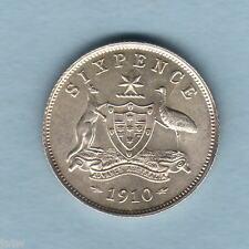 Australia.  1910 Sixpence..  Full Lustre..  aU-UNC