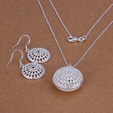 wedding women silver Fashion pretty cute Lovely Earring Necklace set 925