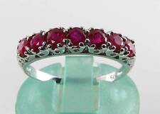 CLASS 9CT 9K WHITE GOLD INDIAN RUBY ETERNITY ART DECO INS RING FREE RESIZE