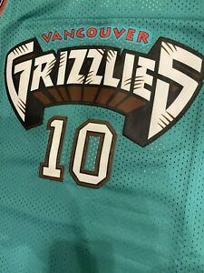 Mike Bibby #10 Vancouver Grizzlies Throwback Teal Mens Jersey