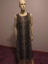 VIRGO Animal Print Shift Dress Sleeveless Brown Beige Black Sz 12 NWT Dress Only