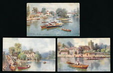 BERKS TUCKS OILETTE 7712 MAIDENHEAD THAMES ARTIST WIMBUSH POSTALLY USED 3 CARDS