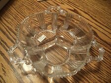 """Fostoria Sunray 3 Section Relish Tray 9"""" Clear Glass Divided Dish RARE"""