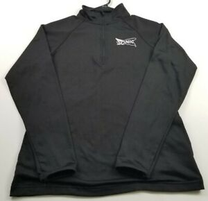 Sonic Employee Womens 1/4 Zip Jacket XS Black Pockets Mockneck Stretch Polyester