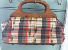 Jcrew Vintage Style  Blue Madras Canvas Bag Purse W/ Clutch wood Handles