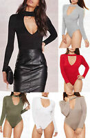 New Ladies High Neck Choker Keyhole V-Neck Long Sleeve Bodysuit Leotard Top