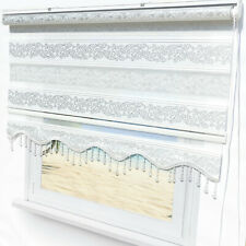 Brillant Doppelrollo Ornament Muster Weiß Silber Fensterroll Türrollo Zebrarollo