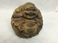 ANTIQUE CHINESE WOODEN HAPPY BUDDHA LONG EARLOBES PRAYER BEADS  6CM APPROX