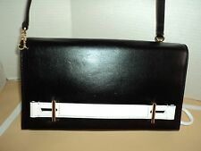 NEW MICHAEL KORS CHELSEY BLACK/WHITE LEATHER LARGE CLUTCH SHOULDER BAG MSR$ 268