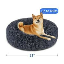 New listing DoG Cat Bed Donut Pet Bed Faux Fur Cuddler Round Comfortable Ultra Soft Calming