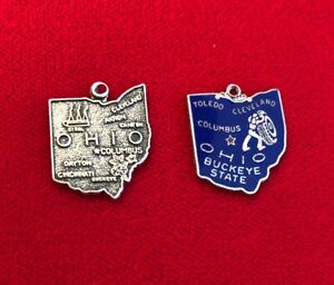 TWO OHIO STATE MAP STERLING SILVER CHARMS, ONE ENAMELED