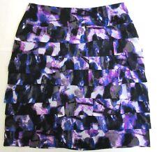 Worthington Petite Tiered Pencil Skirt Size 4P Purple Black Gray Cream Print