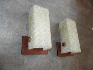 Scandinavian lamp Wall Sconces applied light pair wood plexi ufo vintage retro