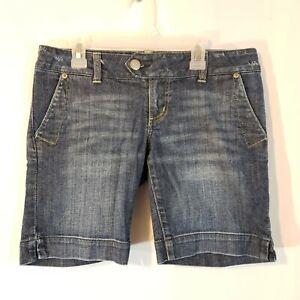American Eagle 4 x8 jean long shorts distressed stretch denim Bermuda low rise