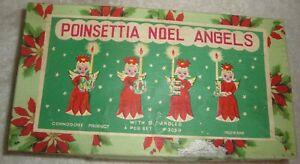 Commodore Poinsettia Christmas NOEL Candle Holders Candlesticks Japan Ornaments
