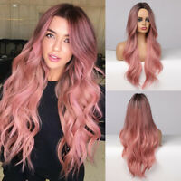 EASIHAIR Long Ombre Pink Synthetic Hair Wigs for Women Middle Part Wavy Cosplay