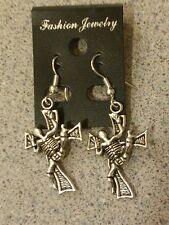 Tibet Silver Skeleton Cross Earrings Silver French Hooks #E143 Gothic Punk