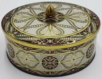 Vintage Embossed Gold Brown and White Tin Container Made In England