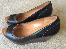 Nicole DREW Leather Wedge Black, Brown Stitching Women's Shoes Size 9.5 M