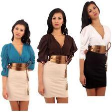 Polyester V-Neck Dresses for Women with Belt