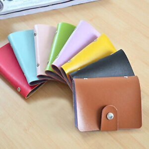 Unisex 24 Card Slim PU Leather ID Credit Card Holder Pocket Case Hasp Wallet Bag