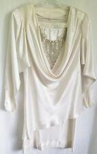 Vintage White 2 Pc Cocktail Dress Batwing Sleeves Fleur de Paris Draped 1980s