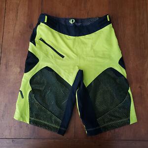 BMC Team Issued Pearl Izumi Mens Small MTB Cycling Shorts Neon Yellow Mesh S