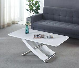 Carlo White MDF Gloss Finish Coffee Table, Cross Leg MDF & Chrome Frame