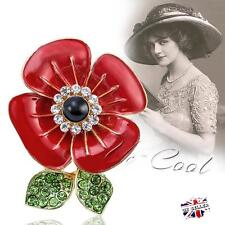 Womens Poppy Flower Brooch Pin Crystal Badges Broach Ladies Diamante Poppies