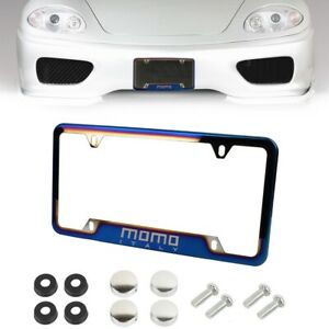 x1 UNIVERSAL MOMO Burnt Blue Stainless Steel License Plate Frame With Screw V2