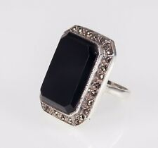 Rectangular Onyx and marcasite Sterling Silver Ring SZ 6
